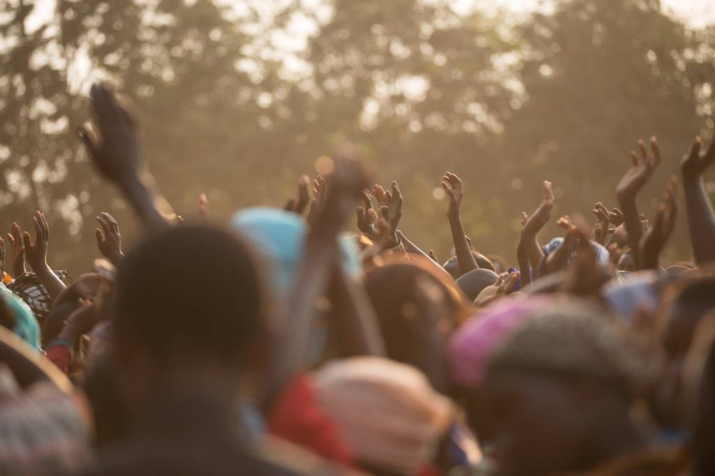 Crowd in Africa on a sunny day
